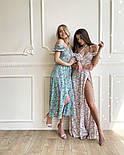 Летнее платье миди в цветочный принт с открытыми плечами и разрезом на ноге (р. S, M) 66032505Q, фото 6