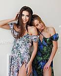 Летнее платье миди в цветочный принт с открытыми плечами и разрезом на ноге (р. S, M) 66032505Q, фото 4