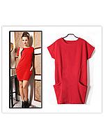 Стильное весенне-летнее платье туника мини Фри Стайл с карманами красное! Красные красивые платья Разм. 42-54
