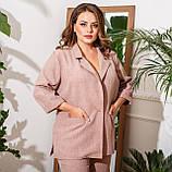 Брючний костюм піджак і штани льон + габардин пояс в комплекті розмір: 48-50, 52-54, 56-58, 60-62, 64-66, фото 2