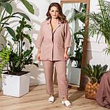 Брючний костюм піджак і штани льон + габардин пояс в комплекті розмір: 48-50, 52-54, 56-58, 60-62, 64-66, фото 3