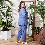 Брючний костюм піджак і штани льон + габардин пояс в комплекті розмір: 48-50, 52-54, 56-58, 60-62, 64-66, фото 4
