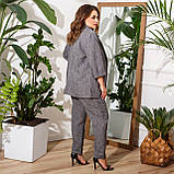 Брючний костюм піджак і штани льон + габардин пояс в комплекті розмір: 48-50, 52-54, 56-58, 60-62, 64-66, фото 5