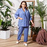 Брючний костюм піджак і штани льон + габардин пояс в комплекті розмір: 48-50, 52-54, 56-58, 60-62, 64-66, фото 6