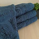 Полотенце банное Бамбук 140x70cm (300г/м2) синее, фото 2