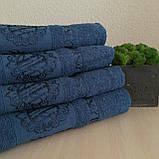 Полотенце банное Бамбук 140x70cm (300г/м2) синее, фото 4