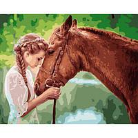 Картина раскраска по номерам Девушка с лошадью 40х50