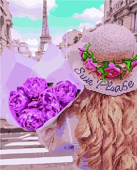 Алмазна картина + картина за номерами Дівчина в Парижі (GZS1168) 40 х 50 см (Без коробки)