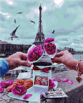 Алмазна картина + картина за номерами Побачення в Парижі (GZS1164) 40 х 50 см (Без коробки)