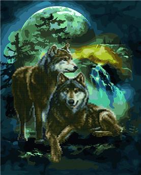 Алмазна картина + картина за номерами Вовки при світлі місяця (GZS1160) 40 х 50 см (Без коробки)