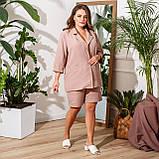 Женский летний костюм двойка пиджак и шорты лен габардин пояс в комплекте размер: 48-50,52-54,56-58, фото 4