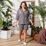Женский летний костюм двойка пиджак и шорты лен габардин пояс в комплекте размер: 48-50,52-54,56-58, фото 6