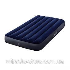 Односпальний надувний матрац Classic Downy Airbed (99x191x25 см) Intex Синій Інтекс, фото 2