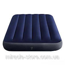Односпальний надувний матрац Classic Downy Airbed (99x191x25 см) Intex Синій Інтекс, фото 3