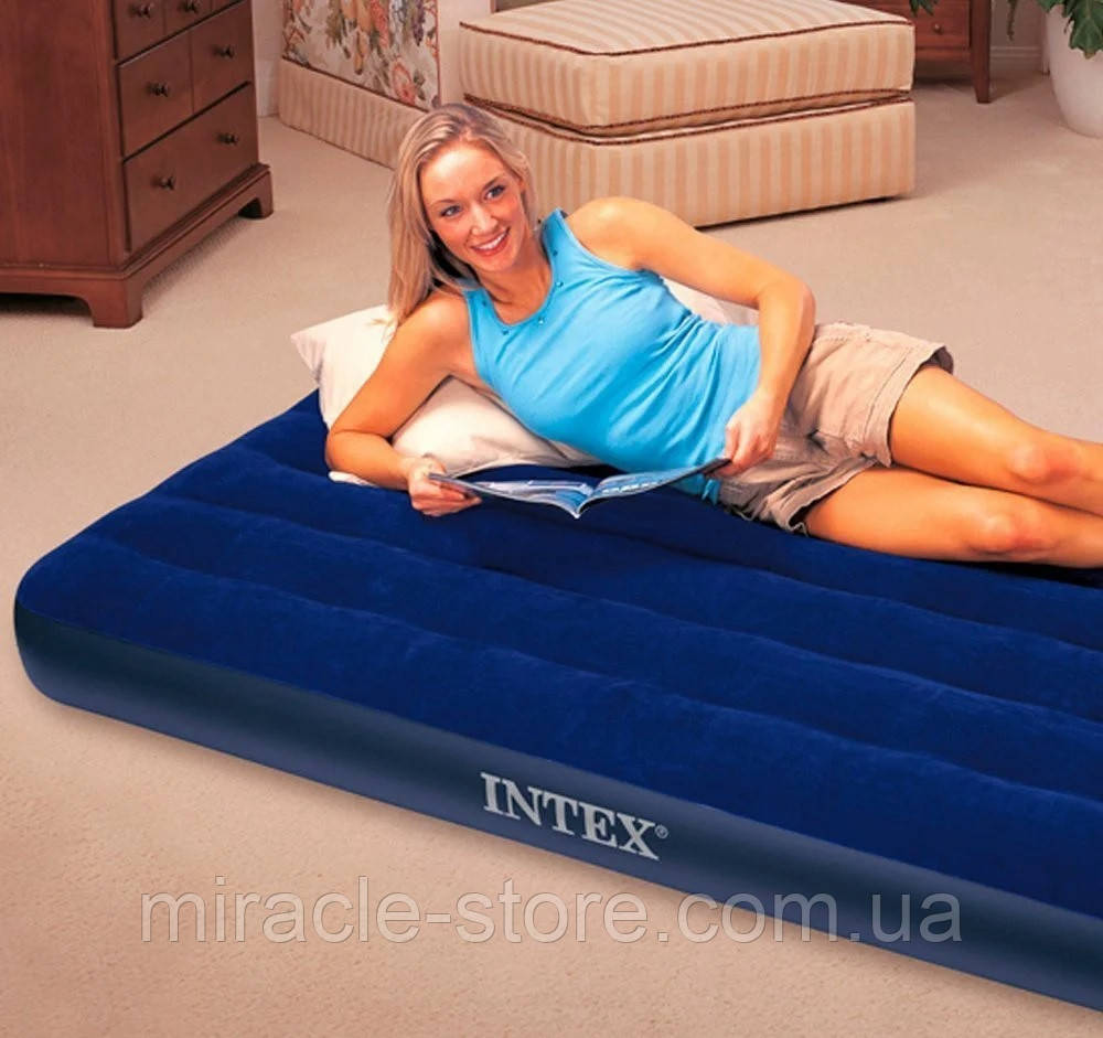 Односпальний надувний матрац Classic Downy Airbed (99x191x25 см) Intex Синій Інтекс
