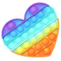 Игрушка антистресс для детей и взрослых Радужное сердце Pop It Силиконовый Fidget Вечная сенсорная пупырка