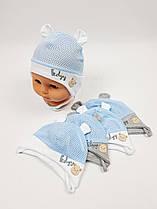 Летние детские шапочки в сеточку с ушками для мальчиков, р. 36-38 40-42, Польша (Ala Baby)