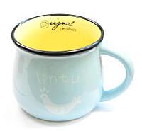 Керамическая чашка Smile голубая,еобычные кружки
