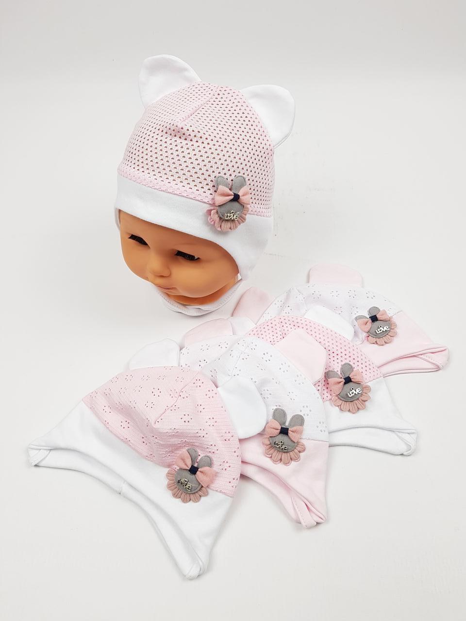 Літні дитячі шапочки в сіточку з вушками для дівчаток, р. 38-40 40-42, Польща (Ala Baby)