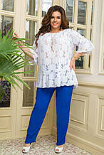 Летний брючный костюм женский Брюки штапель Блуза прошва Размер  50 52 54 56 58 60 62 64 В наличии 3 цвета