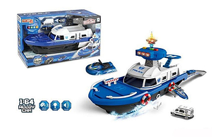 Корабель музичний з набором транспорту синій