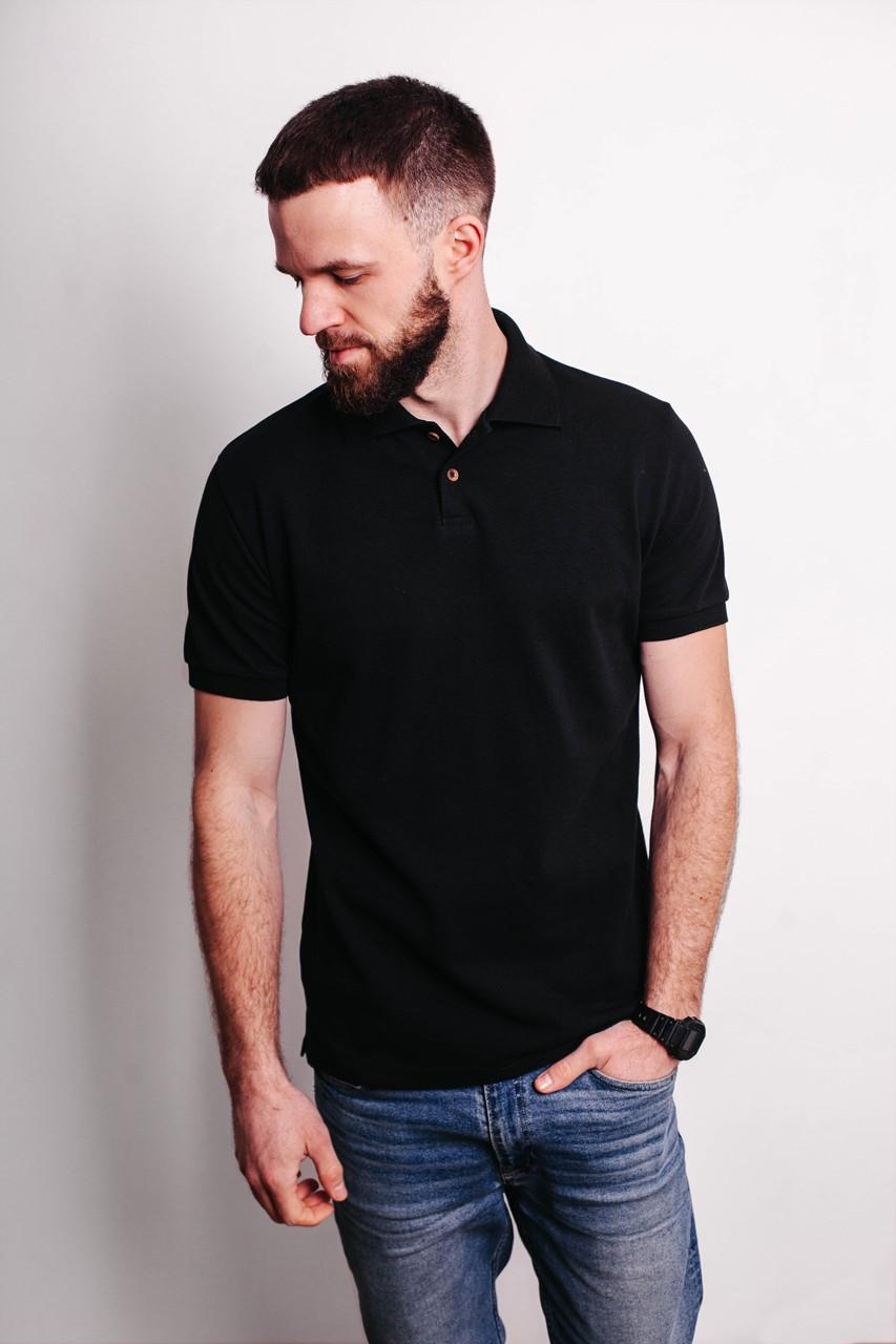 Стильная футболка поло мужская летняя тениска с манжетами на рукавах черного цвета