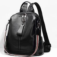 Женский кожаный рюкзак сумка Черный женские рюкзаки из натуральной кожи