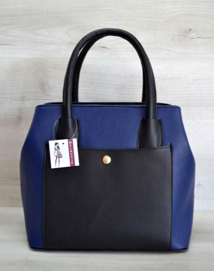 Сумка жіноча з кишенею каркасна Aliri-544-02 синій з чорним