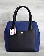 Сумка женская с карманом каркасная Aliri-544-02 синяя с черным