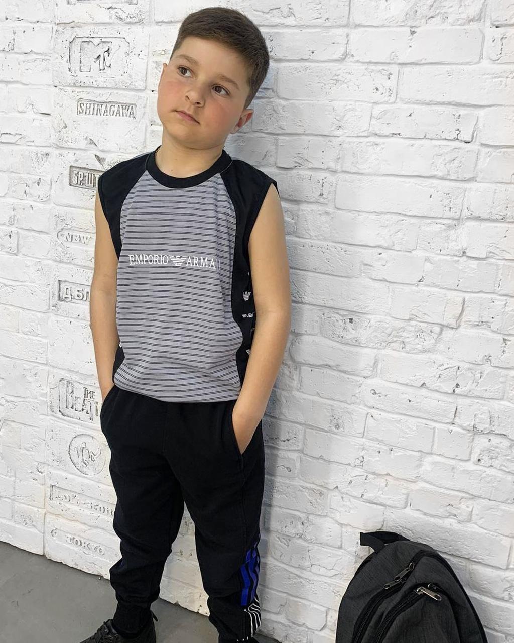 Футболка-безрукавка підліткова на хлопчика 8-12 років в смужку.  Топова модель!!!
