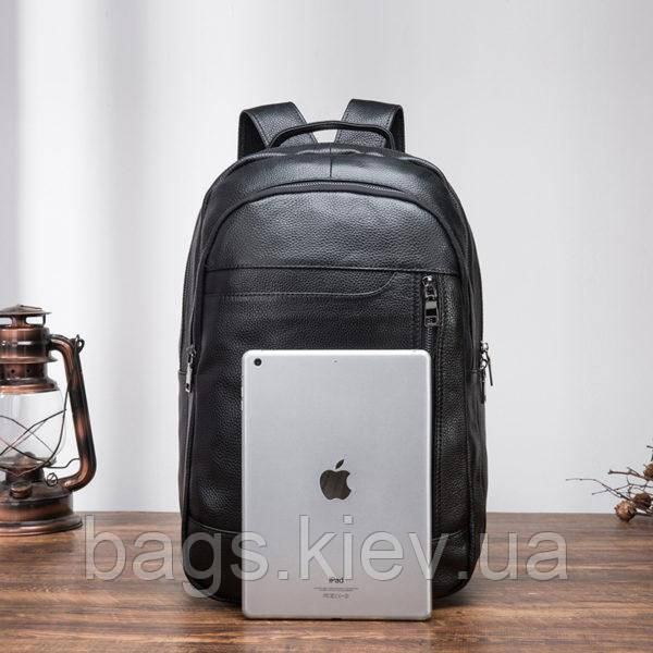 Мужской кожаный рюкзак для ноутбука Черный Tiding Bag, фото 4