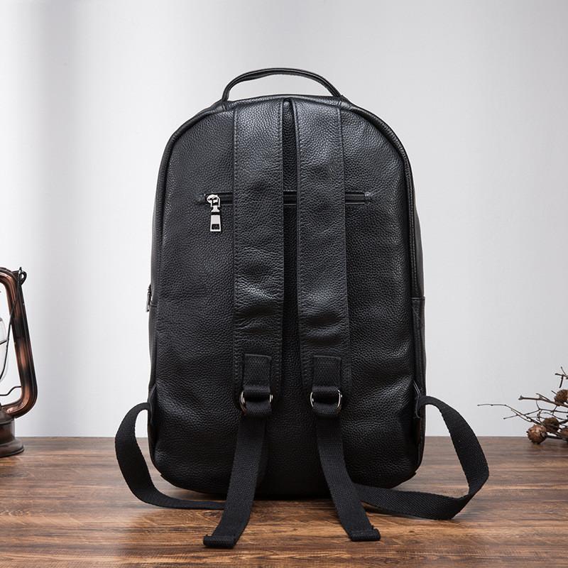 Мужской кожаный рюкзак для ноутбука Черный Tiding Bag, фото 3