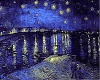 Холст по номерам Турбо Звездная ночь над Роной худ Ван Гог Винсент (VP503) 40 х 50 см
