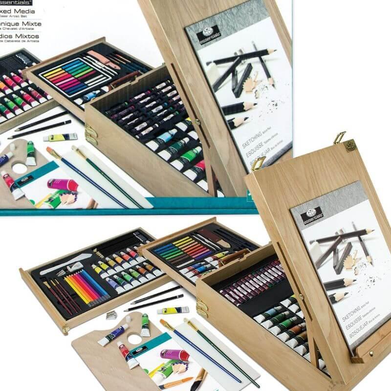 Набор для художника в деревянной коробке-мольберте 150 предметов 46*35*15 см. США 540335