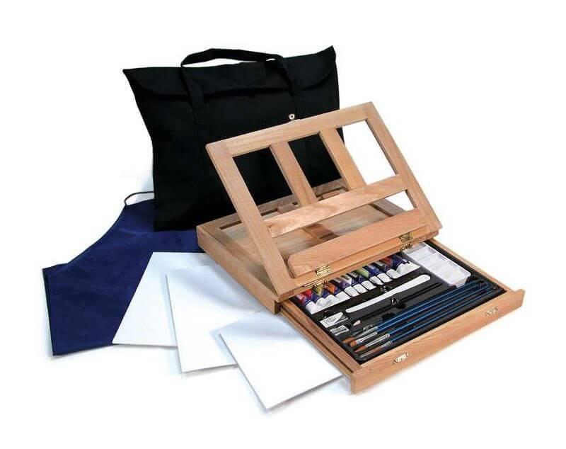 Художественный набор с акриловыми красками 27 предметов США 39*30*8 см. в подарочной коробке 540336