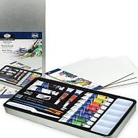 Набор акриловых красок с кисточками для рисования 24 предмета 35*18*3 см. США 540347