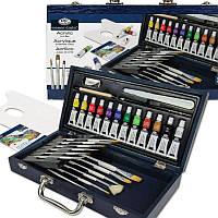 Набор акриловых красок в деревянном чемодане 32 предмета 36*19*7 см. США 540352