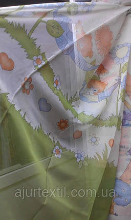 """Тюль печать """"Мишка"""" детская зеленая, фото 2"""
