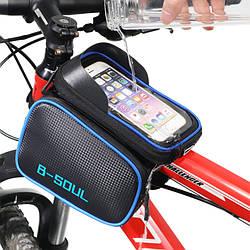 Велосипедна сумка B-Soul з відділенням для телефону на раму Blue