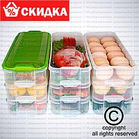 Пластиковый контейнер для продуктов Supretto 3 яруса. Прозрачный