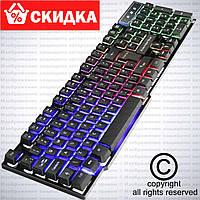 USB проводная компьютерная клавиатура KR 6300 с LED подсветкой RU/EN.