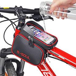 Велосипедна сумка B-Soul з відділенням для телефону на раму Red
