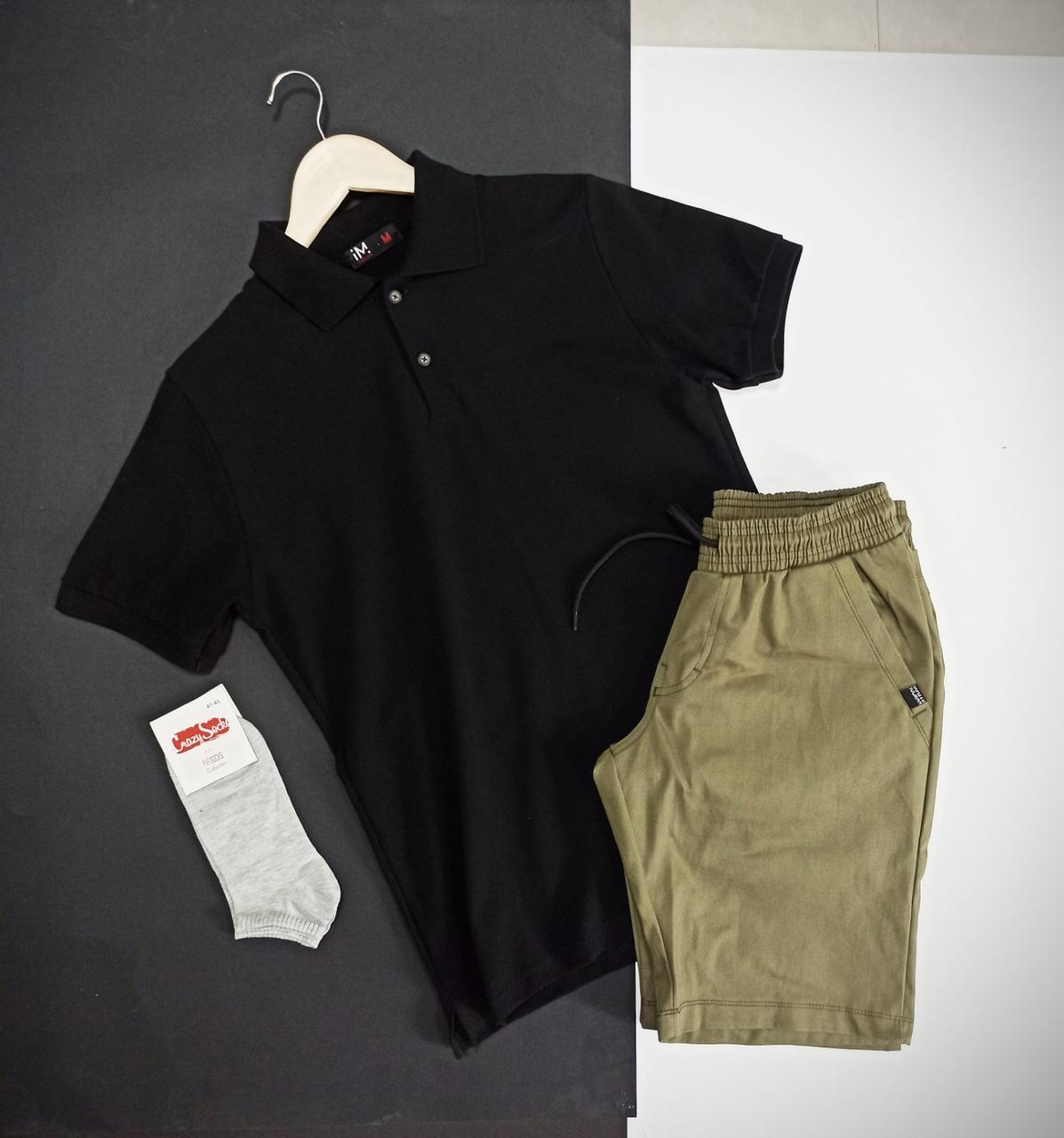 Мужской летний Спортивный костюм черный, Стильный повседневный комплект Футболка Поло и Шорты Турция