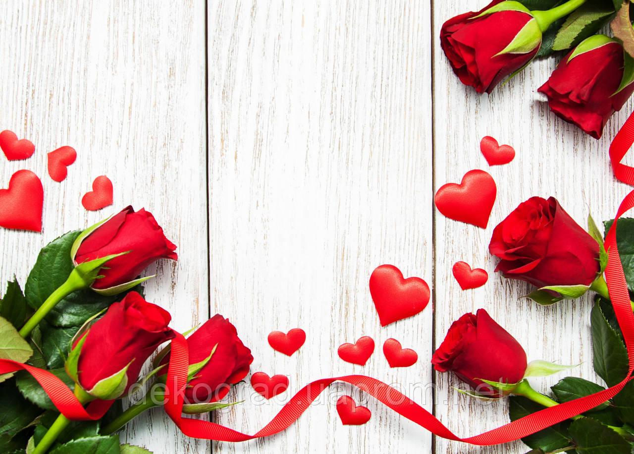 Фотофон А3 (42х29,7см) Красные розы на белом дереве