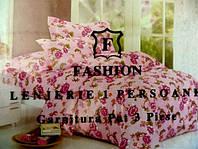 Полуторное постельное белье жатка East Comfort розового цвета