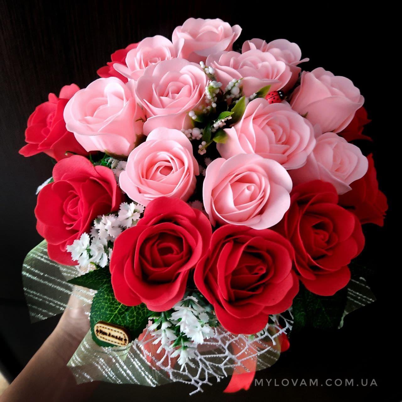 Букет из мыла ручной работы, мыльный букет, композиция розы из мыла, неувядающие цветы, 21 роза из мыла