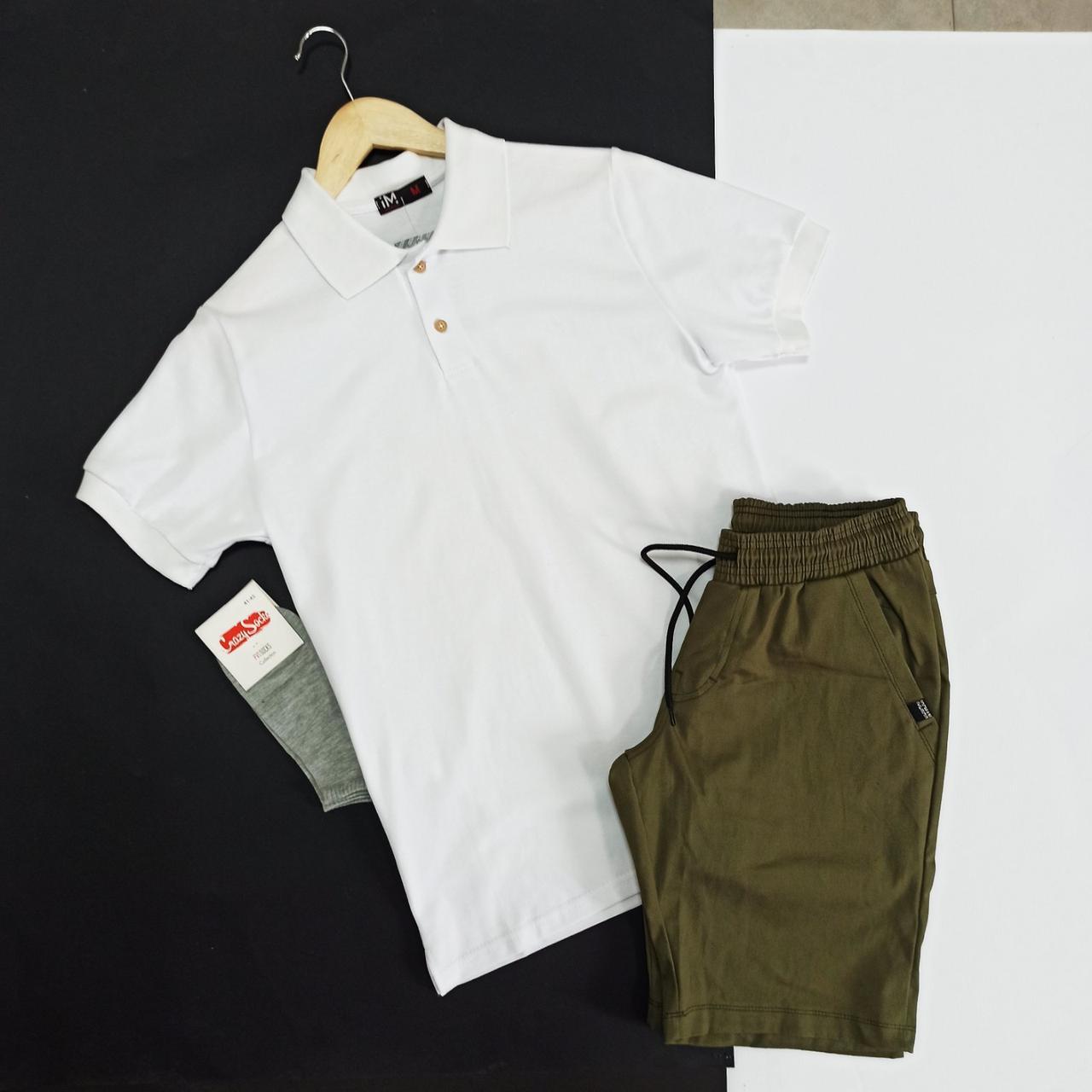 Летний мужской комплект шорты футболка черно - белый комплект футболка поло и шорты