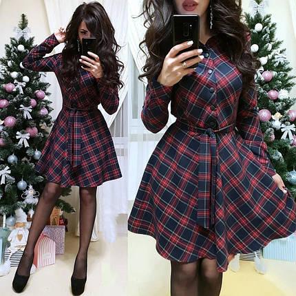 Тепле плаття сорочка з поясом і гудзиками в клітку 44-46, фото 2