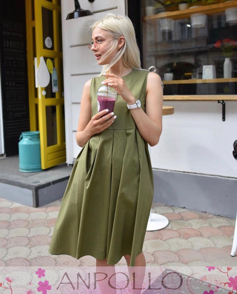 Платье сарафан летнее свободное без рукава хлопок ХАКИ 42-46