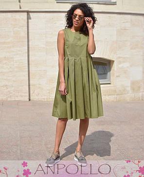 Сукня сарафан літній вільний без рукава бавовна ХАКІ 42-46, фото 2